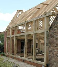 Oak framed buildings from Orlestone Oak.Go to the website. Oak Framed Buildings, Timber Buildings, Timber Frame Homes, Timber House, Timber Structure, Cabin Design, House In The Woods, Wood Construction, Log Homes