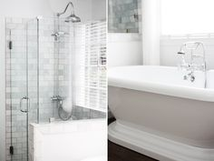 Subway marble tile, exposed fittings. Knee wall to seperate pedestal tub