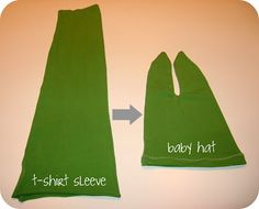 homemade by jill: quick craft: t-shirt sleeve baby hat