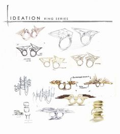 Jewellery Design Sketchbook - sculptural ring sketches; jewellery illustrations…