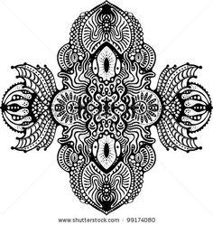 symmetrical psychedelic design element - stock vector