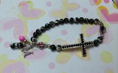 """Black Rhinestone Cross Bracelet Sideways Cross Made with River Shell Beads, Pink Connectors & """"M"""" Initial / Shell Bead Charms. $15.00"""