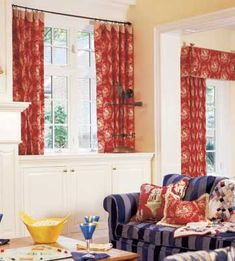 """Adjoining Rooms from BHG """"Multiple Windows"""" Gallery - Love the built-in cabinetry and architectural elements brought together by fabric."""