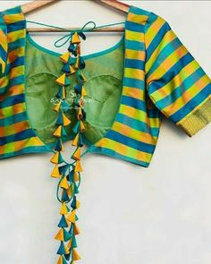 Beautiful latkan for yellow New Saree Blouse Designs, Best Blouse Designs, Bridal Blouse Designs, Design Page, Stylish Blouse Design, Designer Blouse Patterns, Collection, Amazing, Sarees