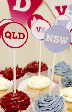 State of Origin party ideas Hen Night Ideas, Hens Night, Cupcake Toppers, Cupcake Cakes, Cupcakes, Diy Party, Party Ideas, Rugby League, Cake Decorating