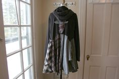 Repurposed Velvet 'Cross' Hoodie Sweatshirt / Upcycled Clothing / Breathe Again Clothing