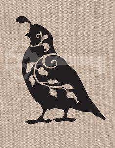 filigree quail silhouette original illustration digital download: Image No.409 printable artwork