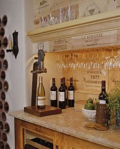 A Wet Bar with Wine-Inspired Decor is the perfect touch to my Mediterranean-inspired Better Homes & Garden Dream home. Vino anyone? Wooden Wine Boxes, Wine Crates, Wet Bar Designs, Wine Decor, Wet Bars, Bar Areas, In Vino Veritas, Wine Storage, Crate Storage