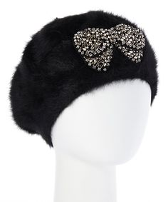 Look at this Ivory Rhinestone-Bow Fur Beanie on #zulily today!