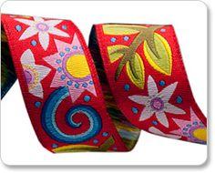 """Red Bouquet 7/8"""" Ribbon - Jane Sassaman at Renaissance Ribbons"""