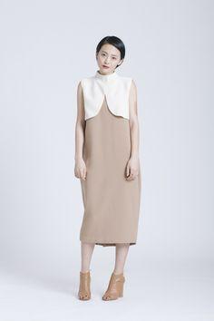 Camel Dill High Collar Dress