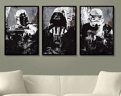 """Star Wars All Black Darth Vader, Stormtrooper and Boba Fett Poster Set 11""""X17"""""""