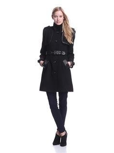 Badgley Mischka Women's Liv Belted Military Coat (Black)