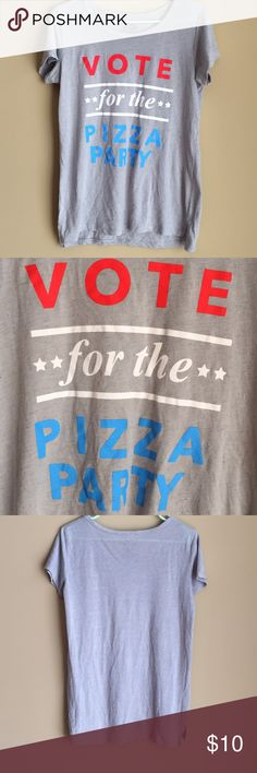 🍎 Pizza shirt Vote for the pizza party shirt. Size medium No flaws. In good condition.  Everything fits true to size best of my knowledge but remember everybody's body is different. Smoke free pet free home. Look through photos carefully to judge quality and ask questions, always open to offers  :) Tops Tees - Short Sleeve