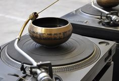 sculpture of sound, water bowls