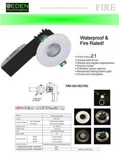 9W Fire Rated COB LED Downlight 60 Deg | Eden illumination