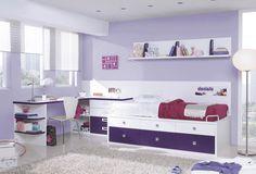 Un bonito dormitorio para vuestras princesas. No dejaran de soñar en una habitación tan bonita como esta.  #dormitorio  #habitación #violeta #niña #muebles