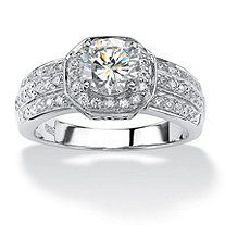 2.26 TCW Cubic Zirconia Platinum over Sterling Silver Octagon-Shaped Engagement Anniversary Ring