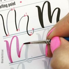 """Letter """"M"""" in real time 🎥 One of my favorite letters to draw! It's ok to pause and adjust your hand's position to achieve a good, steady, uniform stroke. ✍️ @winsorandnewton Cotman Size 2 Series 111 Round Brush 🖌This worksheet is part of the 50+ page """"Upper-case Watercolor Brush Lettering"""" PRINTABLE pack. Works great for the large Brush Pens, broad tip Crayolas and waterbrushes. The pack also includes practice drills to help you loosen up and gain control of the brush plus some of my…"""