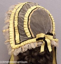 back view - Fine Original c1850's Lady's Fancy Tulle Head Dress | eBay seller time-travelers, de-accessioned from a public museum;