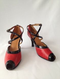 Victoriano / red black tango heels shoes handmade in Argentina size 8 M / by thesidewalkrunway