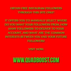 This is a website that provides everyone with free Instagram followers as it automates the procedure for you. You may select where do the followers come from, what will be your common interests, and the amount of followers you want. All of them are real and active people gathered from our private networks! Enjoy!