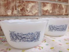 Vintage Currier Ives Pair of Custard Cups / Ramekin / Bowl - White / Navy Blue / Baby Blue - Horse Drawn Lady in a Wagon on Etsy, $6.95