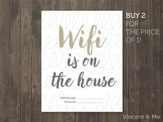 Wifi password sign. Printable wifi sign. Guest by VincentAndMe