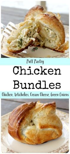 A simple recipe of puff pastry filled with chicken, artichokes, cream cheese & g. - A simple recipe of puff pastry filled with chicken, artichokes, cream cheese & green onions. Puff Pastry Chicken, Chicken Puffs, Turkey Recipes, Chicken Recipes, Chicken Bundles, Savory Pastry, Savoury Pies, Choux Pastry, Artichoke Chicken