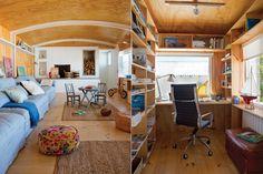 Una casa con estilo náutico  La estructura comprende un playroom grande, un baño completo, una kichenette y una oficina pequeña donde el propietario se recluye por horas para trabajar desde su refugio esteño.  /Gentileza Juan Hitters