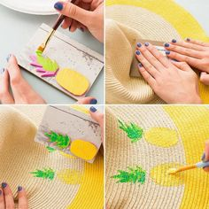 4 Style Hacks to Update an Old Beach Hat - Brit + Co Summer Diy, Summer Hats, Painted Hats, Hand Painted, Floppy Straw Hat, Hat Decoration, Block Craft, Stamp Printing, Deco Floral