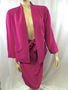 Peck & Peck Collection Suit Jacket Skirt Size 10 Solid Pink Azalea Career Bow #PeckPeck #DressSuit
