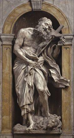 """Gian Lorenzo Bernini, """"San Girolamo"""", 1661-63 - Marmo, altezza 195 cm, Cappella del Voto, Cattedrale di Santa Maria Assunta, Siena"""