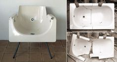 A chair made out of a small broken bathtub. One of the coolest craft projects I have seen. Fiberglass of course, a bit difficult if it were steel.