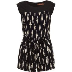51d7f91b32 Jolie Moi Black Comic Print Playsuit ( 18) ❤ liked on Polyvore featuring  jumpsuits