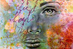 FACE PENCIL DRAWING + PERMANENT ACRYLIC SPRAYS – Mixed Media Art Tutorials
