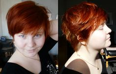 Plus size, short hair. LOVE the color and the style. Gorgeous! It brings out the color in her eyes too.