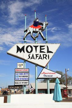 "Route 66. The Safari Motel, still in operation on Tucumcari, New Mexico, on what was once old Rt. 66. ""The Fine Art Photography of Frank Romeo."""