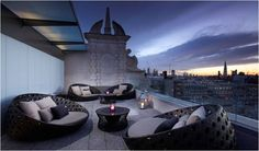 Laid back roof top lounge over-looking central London (at the 5* ME London).