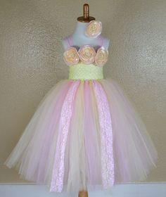 Lace Buttercream Pink Rose Flower Girl Tutu Dress for Weddings, Pageants, Photos, Birthdays