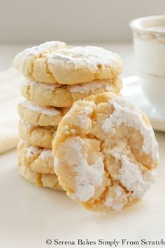 (Ingredients list here excludes flour ) Soft and Chewy Lemon Cookies are a delicious easy to make cookie from Serena Bakes Simply From Scratch. Lemon Recipes, Baking Recipes, Dessert Recipes, Candy Recipes, Dinner Recipes, Lemon Cookies, Yummy Cookies, Cookies Soft, Sugar Cookies