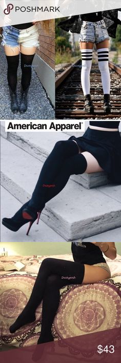 American Apparel Thigh High Socks Over The Knee Authentic American Apparel new never worn thigh high socks. 1 Pair new never worn, might be out of package but still chipped together. Treat yourself, you and your friends or give as a gift. Price Firm. American Apparel Accessories Hosiery & Socks