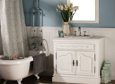 Recollections - love the exposed pipes with the bath.