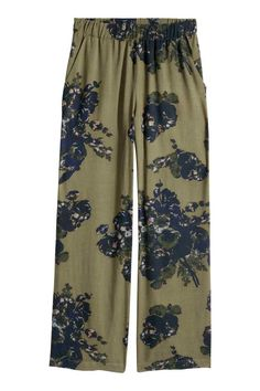 Wide trousers - Khaki green /Floral - Ladies | H&M GB