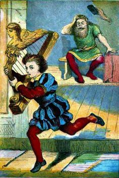 Jack and the Bean Stalk - Jack takes and runs with the talking harp