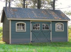 12'x16' Garden Shed with Lap Siding, Carriage House Doors, Arched Wood Windows, and Gable Vents www.backyardunlimited.com/sheds.php