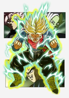 Super Trunks, Goku Black, Zamasu, and Vegeta - Visit now for 3D Dragon Ball Z compression shirts now on sale! #dragonball #dbz #dragonballsuper