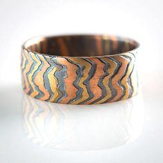 Mokume Incline Ring in Oxidized Fire - Susan Freda Studios & Arn Krebs Arts