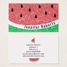 #faux glitter watermelon business card - #travel #trip #journey #tour #voyage #vacationtrip #vaction #traveling #travelling #gifts #giftideas #idea