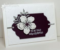 handmade card: SatHopBliss by Mary Brown . black and white with some silver glimmer paper . Stampin' Up! Flower Stamp, Flower Cards, Hand Stamped Cards, Stamping Up Cards, Sympathy Cards, Cute Cards, Homemade Cards, Making Ideas, Cardmaking